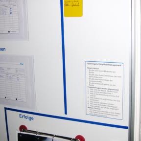 Die Magnettafel A5 mit bedrucktem Etikett hängt am Whiteboard