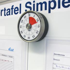 Besprechungstimer ist magnetisch und kann so einfach auf einem Whiteboard befestigt werden