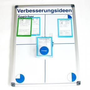 Whiteboard 60 eco mit Dokumentenhaltern und visuellen Hilfsmitteln