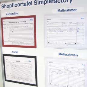 Whiteboard 90 eco mit Dokumentenhaltern und visuellen Hilfsmitteln