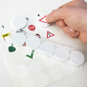 Visual Kreismagnet können mit den Etiketten beklebt werden