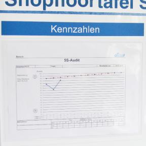 Magnettasche A4 mit Kennzahlen an Whiteboard