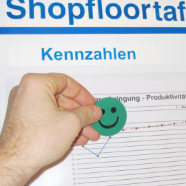 Smileymagnet ist magnetisch und kann einfach auf Shopfloortafeln eingesetzt werden