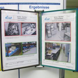Mit dem Dokuhalter 5x A4 Mag robust können Aushänge mit mehreren Seiten direkt am Whiteboard befestigt werden