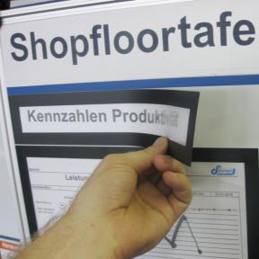 Überschriften werden mit dem Titelhalter A4 Mag an der Shopfloortafel befestigt
