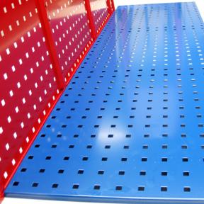 Lochplatte L, 1500x450mm in rot und blau
