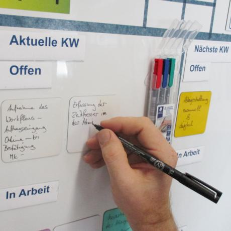 Mit den Stiften die Aufgaben und Aktivitäten an Teamtafel festhalten