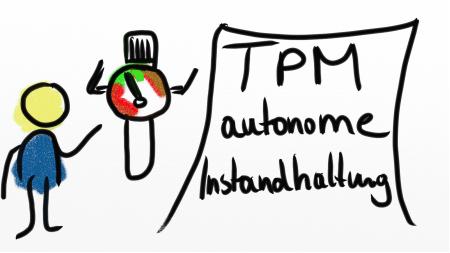 Zeichnung eines Mannes vor einer TPM Visualisierung eines Manometers