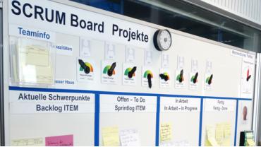 Scrum Methode - Scrum Board mit visuellen Hilfsmitteln und Magnetkarten