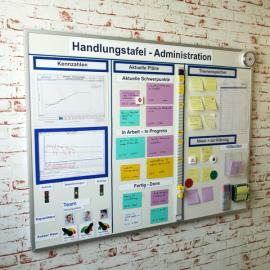 Whiteboard 120 mit Dokumentenhaltern und visuellen Hilfsmitteln