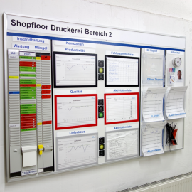 Whiteboard 150 mit Dokumentenhaltern und visuellen Hilfsmitteln