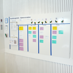 Whiteboard Wall 200 Pro mit Magnetkarten und visuellen Hilfsmitteln