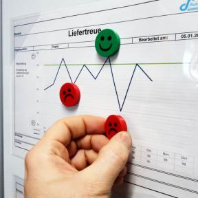 Smileymagnet strong einfach zur Kennzeichnung an der Shopfloor Tafel