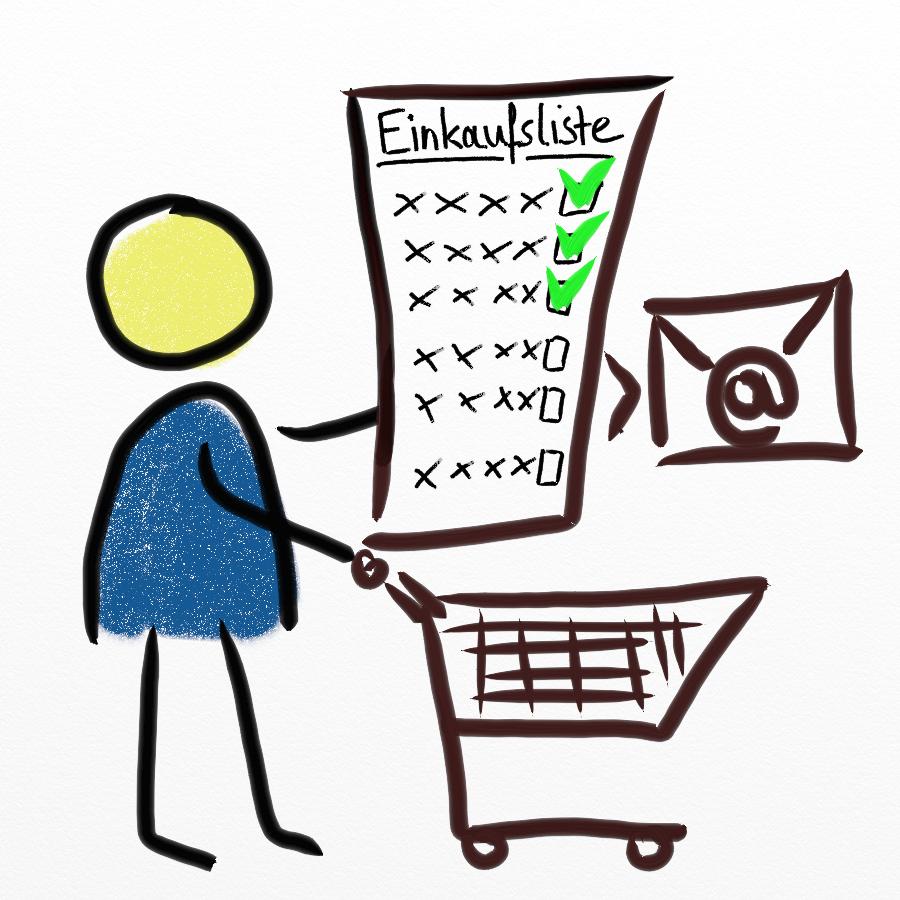 Strichmännchen nutzt neben seinem Warenkorb die Einkaufsliste zur Vereinfachung des Bestellprozesses