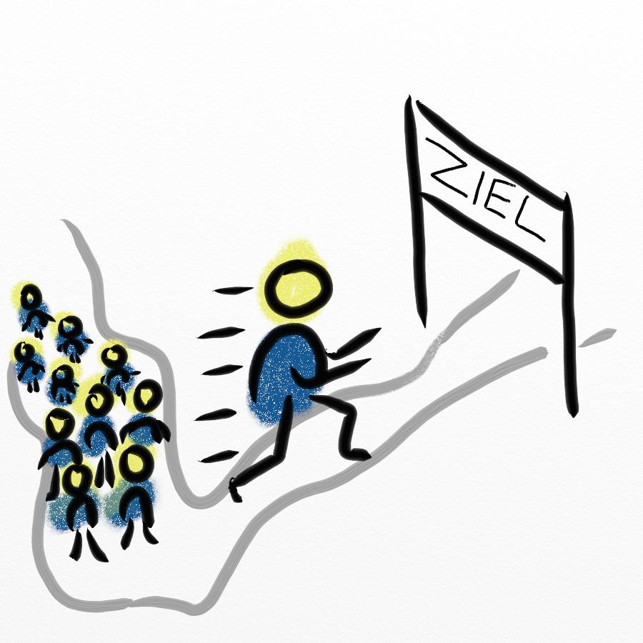 Strichmännchen rennt zum Ziel - Simplefactorys Konzept