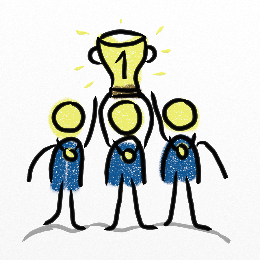 Drei Strichmännchen halten einen Pokal