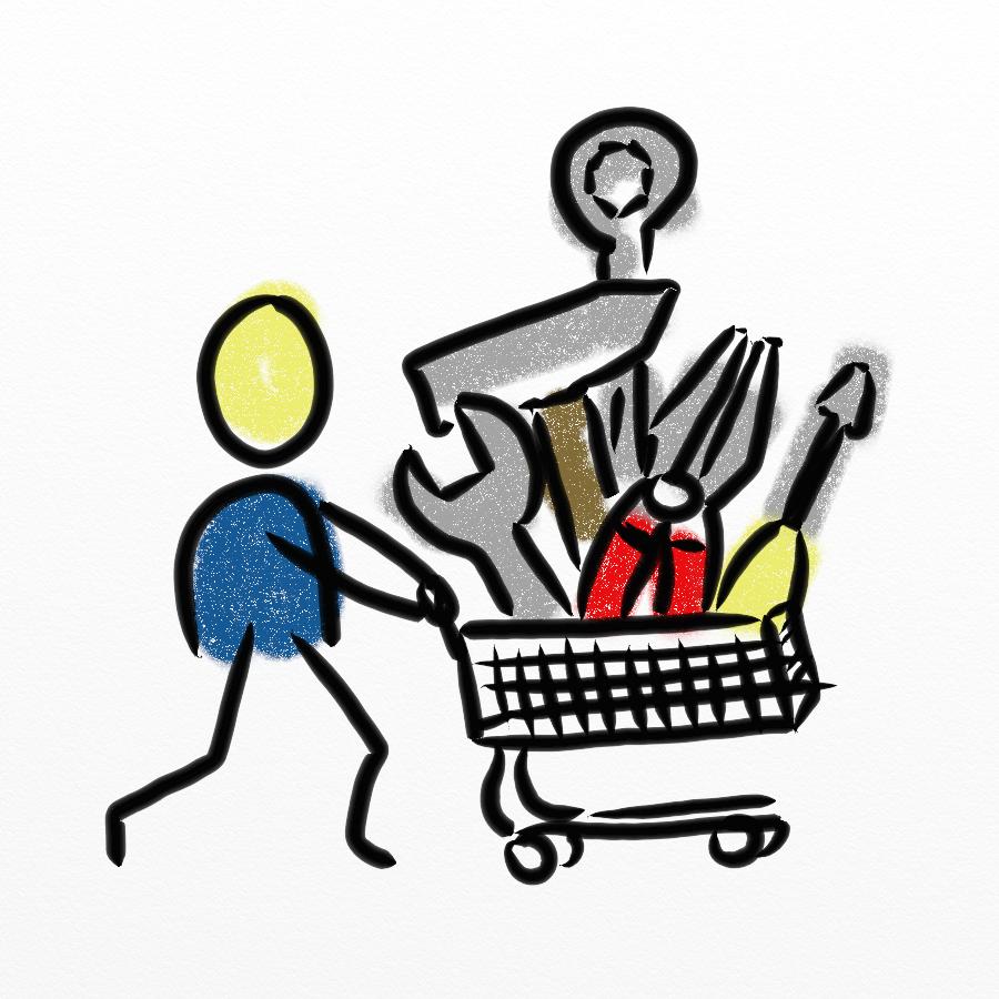 Strichmännchen schiebt Einkaufswagen mit Werkzeugen