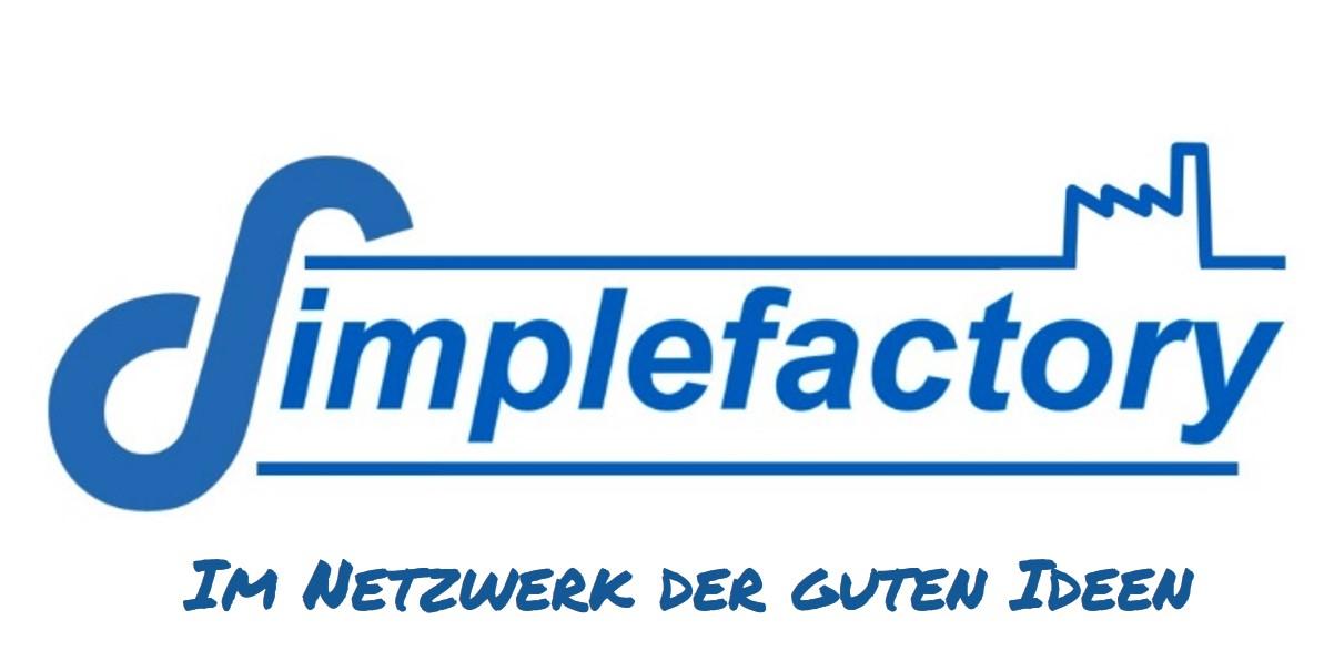 Schriftzug Simplefactory und Netzwerk der guten Ideen