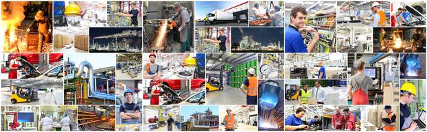 Sammelbild für Arbeiter im Produktionsumfeld & im Verbesserungsprozess