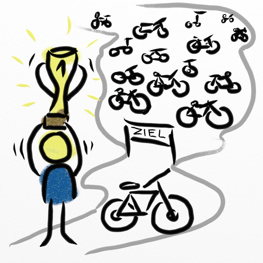 Gezeichneter Mann hält Pokal für Verbesserungsprozess für Lean & KVP Ideen