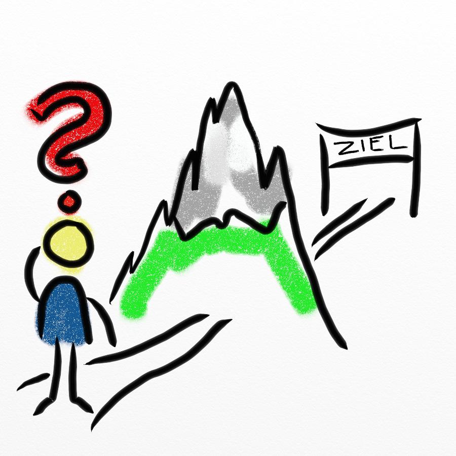 Ein Berg steht zwischen einem Strichmännchen und dem Ziel.