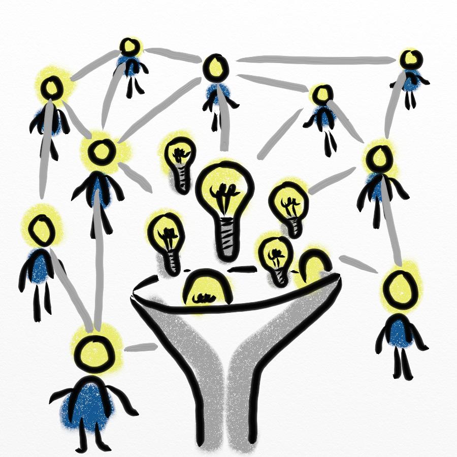 Strichmännchen sind über ein Netzwerk aus guten Ideen miteinander verbunden.